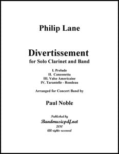 Divertissement, For Clarinet and Band in 4 Movts.