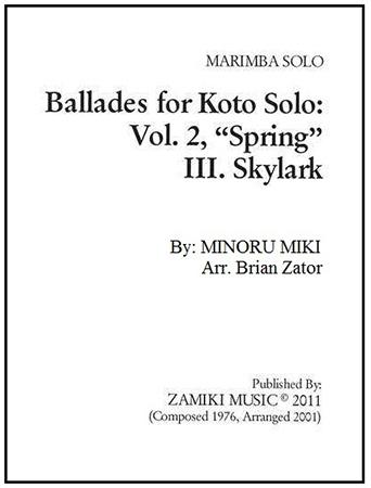 Ballades for Koto Solo #2 Spring III Skylark