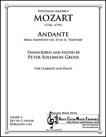 Symphony No. 35, Haffnner K. 385 - Andante for B-flat Clarinet and Piano