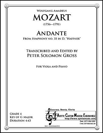 Symphony No. 35, Haffnner K. 385 - Andante for Viola and Piano 19.99
