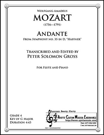 Symphony No. 35, Haffnner K. 385 - Andante for Flute and Piano 19.99