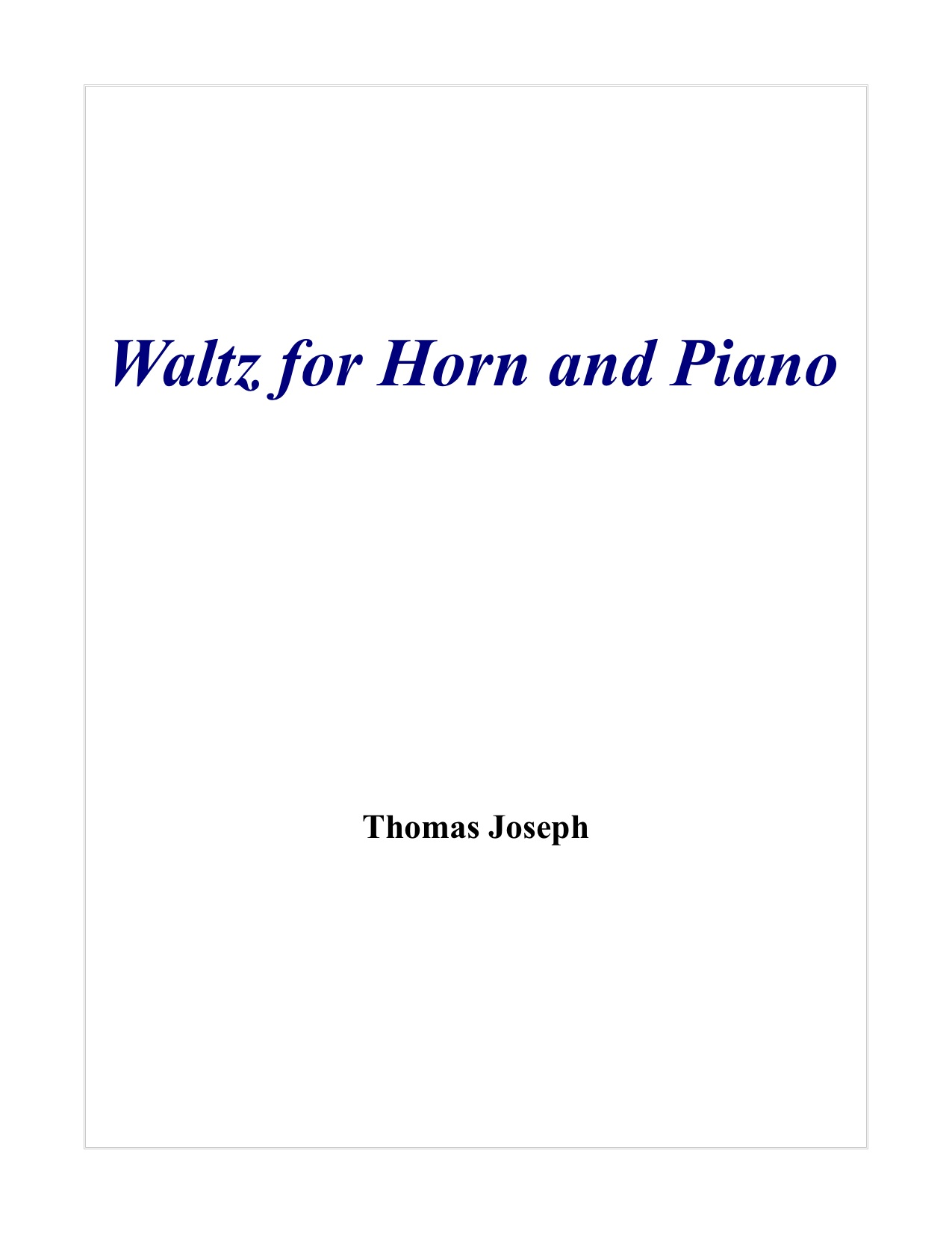Waltz for Horn and Piano