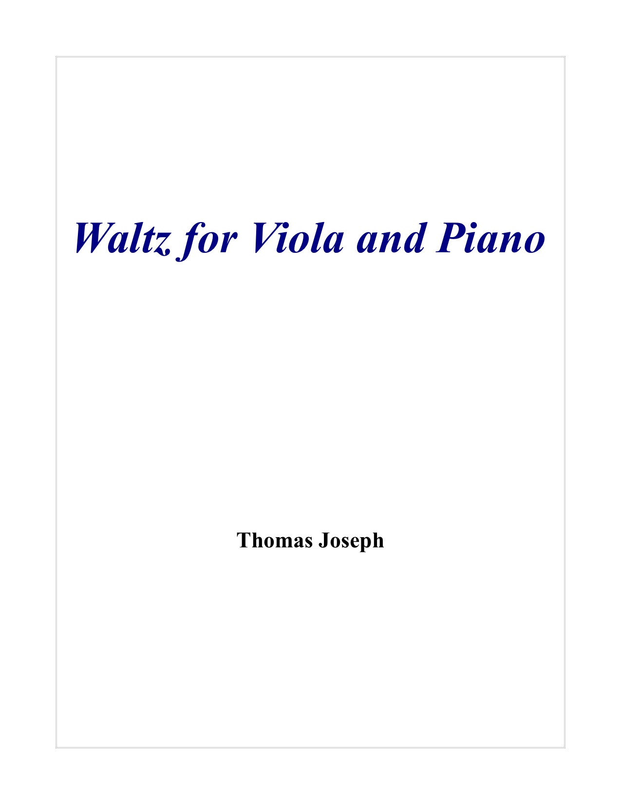 Waltz for Viola and Piano