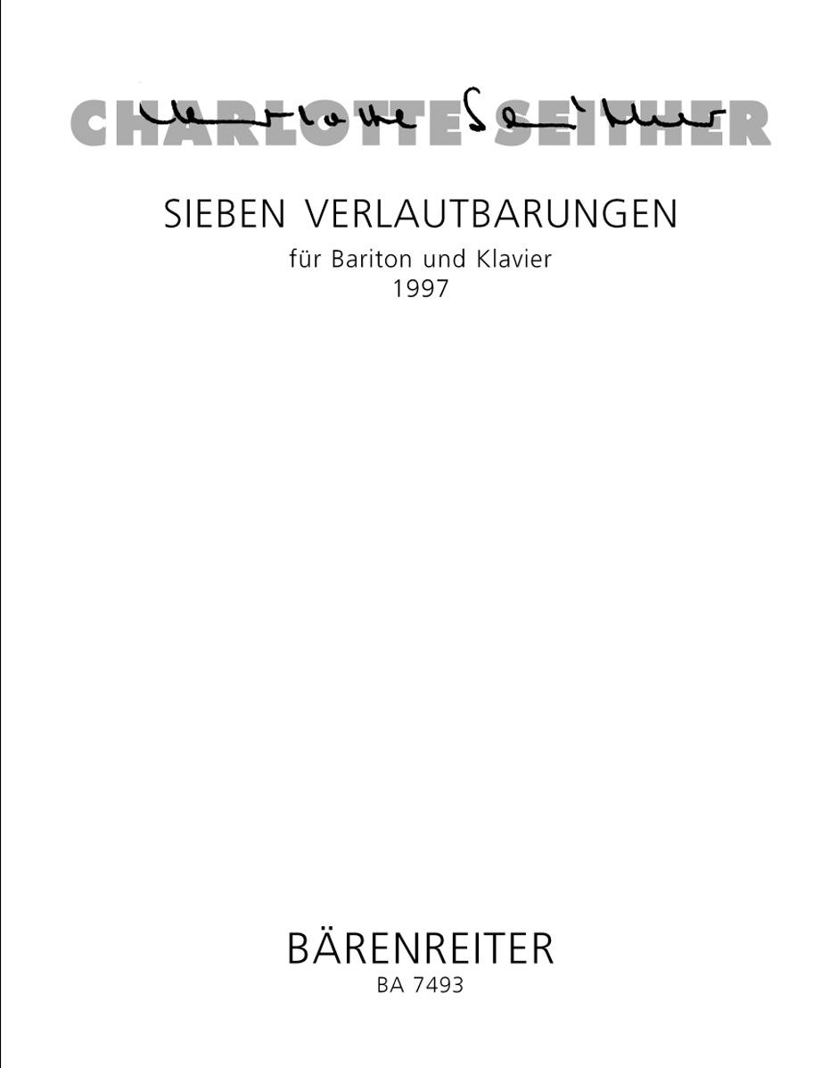 Sieben Verlautbarungen for Baritone and Piano