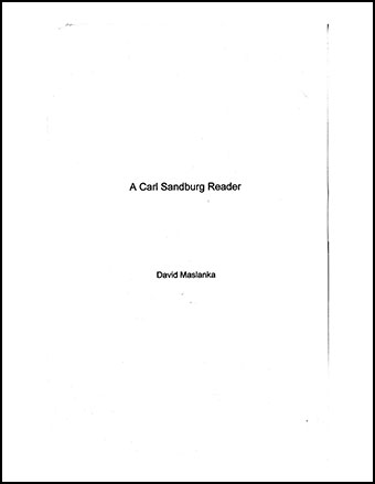 A Carl Sandburg Reader