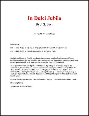 In Dulci Jubilo for woodwind duets