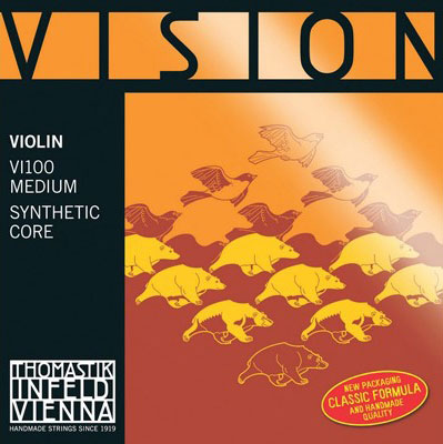 Thomastik Vision Violin String Set 4/4 Silver D, Ball End