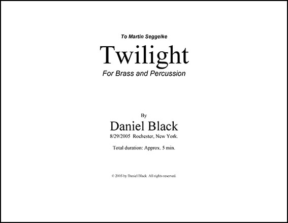 Twilight- for Brass and Percussion