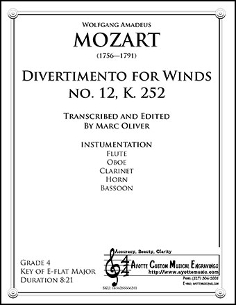 Divertimento for Winds No. 12, K.252