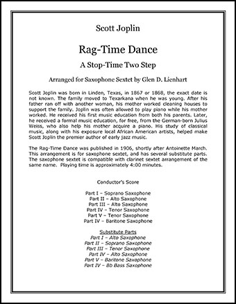 Rag-Time Dance, The (Saxophones)