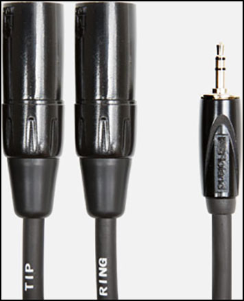 Roland Interconnect Cables, 1/8-inch TRS to two XLR male, Black Series