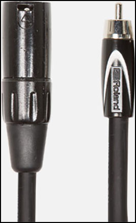 Roland Interconnect Cables, XLR male to RCA, Black Series