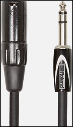 Roland Interconnect Cables, 1/4-inch TRS male to XLR male, Black Series