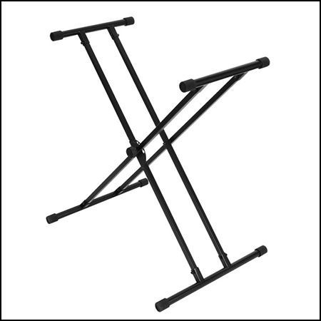 Bullet Nose Double Brace Keyboard Stand with Lok-Tight Attachment