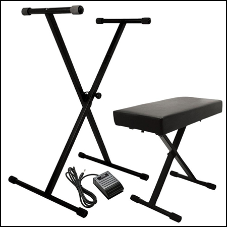 Keyboard Stand, Bench Pak with Medium Gauage Sustain Pedal