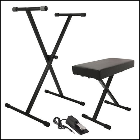 Keyboard Stand, Bench Pak with Heavy Guage Sustain Pedal