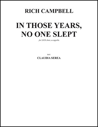 In Those Years, No One Slept
