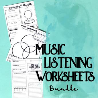 Music Listening Worksheet Bundle classroom sheet music cover