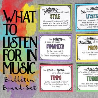 What to Listen for in Music - Bulletin Board Set