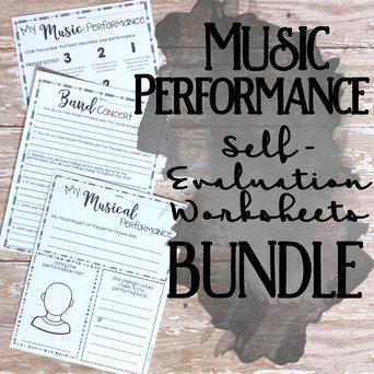 Music Performance Self-Evaluation Worksheets Bundle classroom sheet music cover
