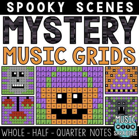 Spooky Mystery Music Grids - Whole, Half and Quarter Notes