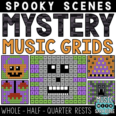 Spooky Mystery Music Grids - Whole, Half and Quarter Rests