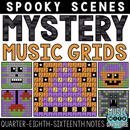 Spooky Mystery Music Grids - Quarter, Eighth and Sixteenth Notes Thumbnail