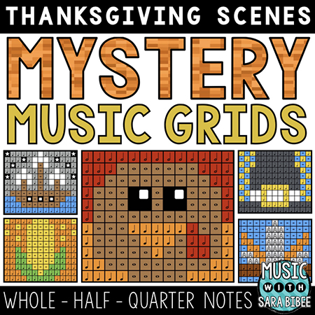 Thanksgiving Mystery Music Grids - Whole, Half, and Quarter Notes