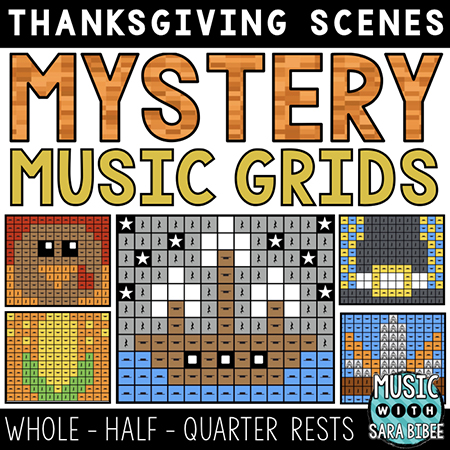 Thanksgiving Mystery Music Grids - Whole, Half, and Quarter Rests
