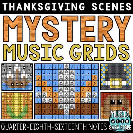 Thanksgiving Mystery Music Grids - Quarter, Eighth, and Sixteenth Notes