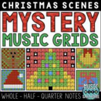Christmas Mystery Music Grids - Whole, Half, and Quarter Notes