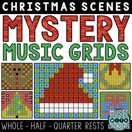 Christmas Mystery Music Grids - Whole, Half, and Quarter Rests