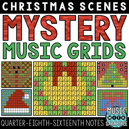 Christmas Mystery Music Grids - Quarter, Eighth, and Sixteenth Notes
