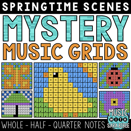 Spring Mystery Music Grids - Whole, Half, and Quarter Notes