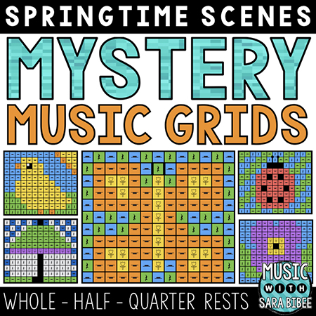 Spring Mystery Music Grids - Whole, Half, and Quarter Rests