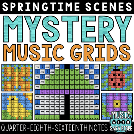 Spring Mystery Music Grids - Quarter, Eighth, and Sixteenth Notes