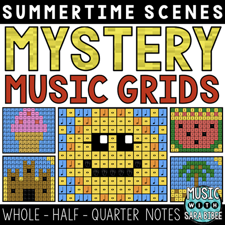 Summer Mystery Music Grids - Whole, Half, and Quarter Notes