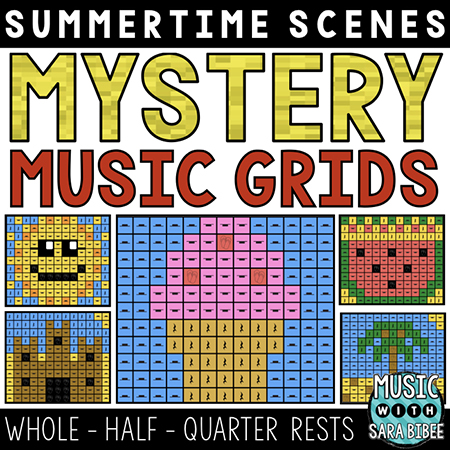 Summer Mystery Music Grids - Whole, Half, and Quarter Rests