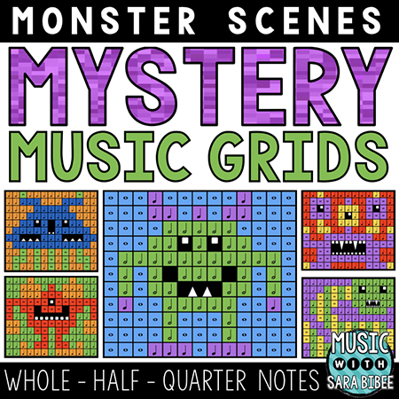 Monster Mystery Music Grids - Whole, Half, and Quarter Notes