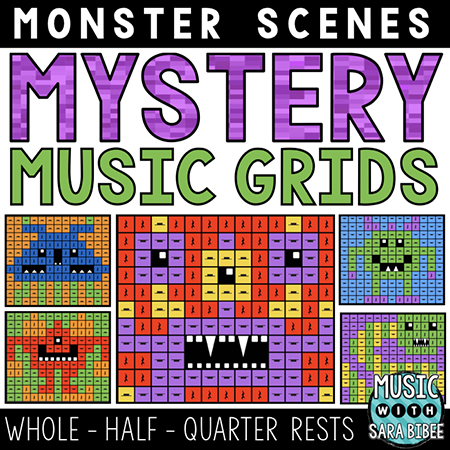 Monster Mystery Music Grids - Whole, Half, and Quarter Rests