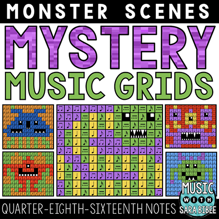 Monster Mystery Music Grids - Quarter, Eighth, and Sixteenth Notes
