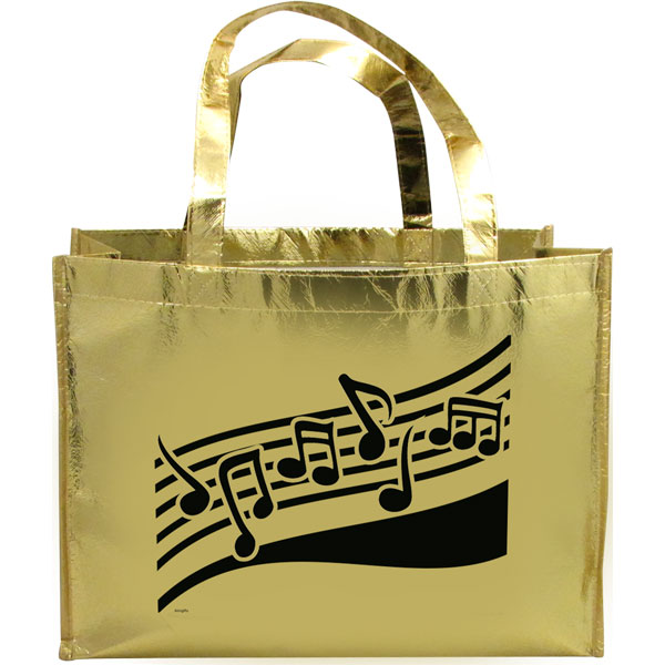 MUSIC STAFF METALLIC GOLD TOTE BAG