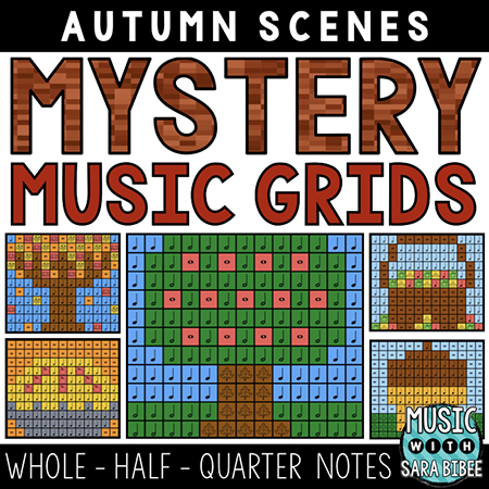 Autumn Mystery Music Grids - Whole, Half, Quarter Notes