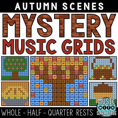 Autumn Mystery Music Grids - Whole, Half, Quarter Rests