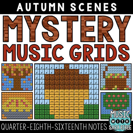 Autumn Mystery Music Grids - Quarter, Eighth, Sixteenth Notes