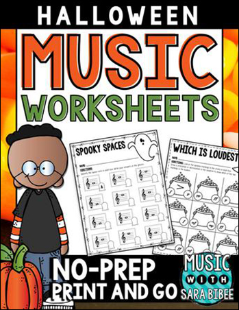 Music Worksheets for Halloween