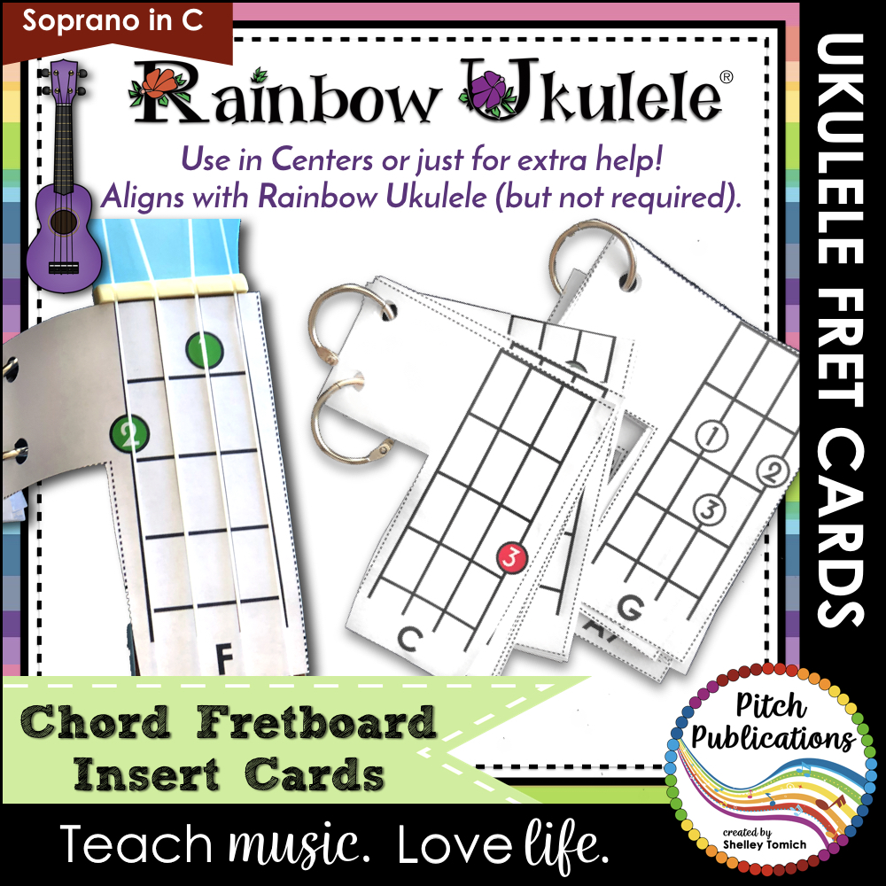 Rainbow Ukulele Printable Fretboard Card Insert classroom sheet music cover