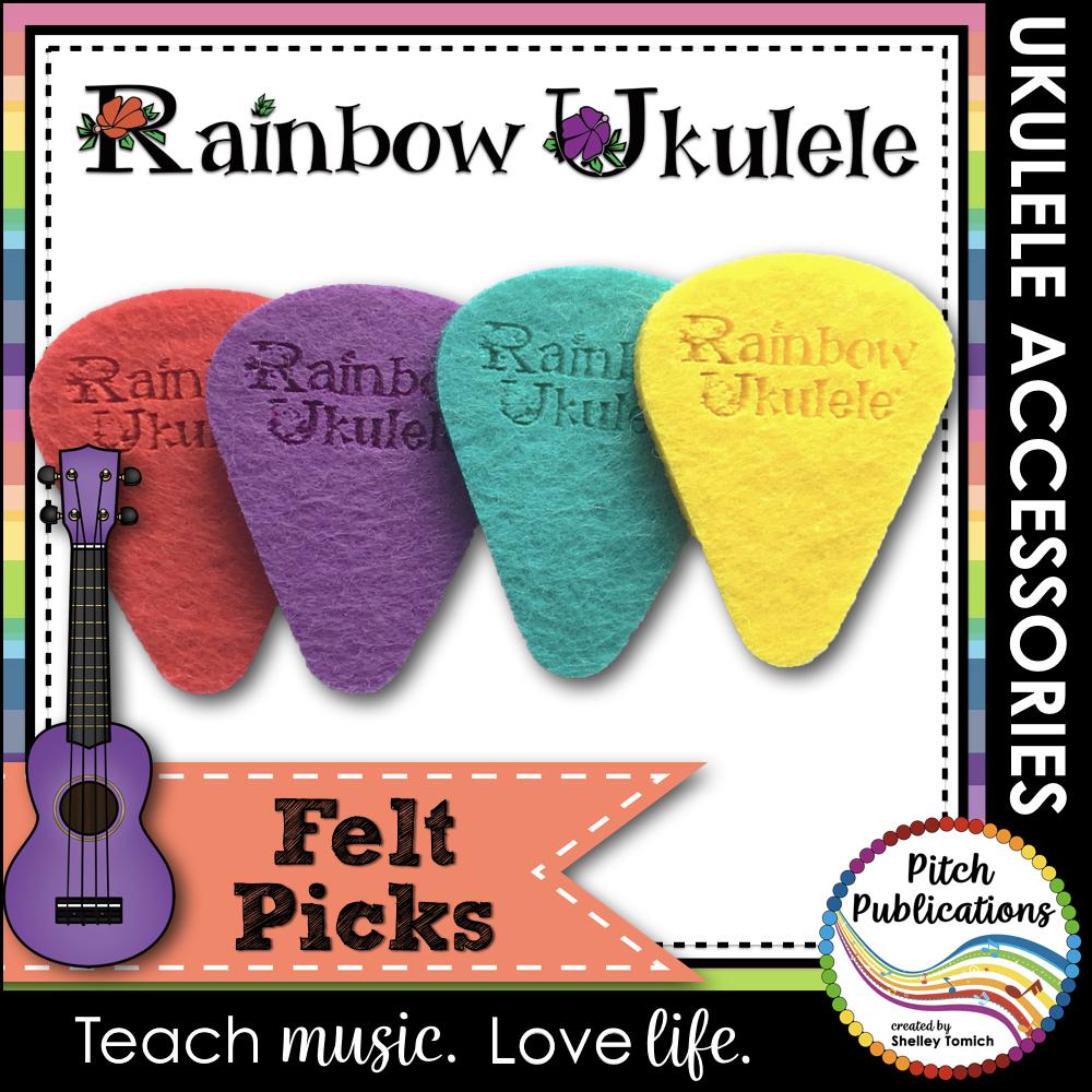 Rainbow Ukulele Felt Picks
