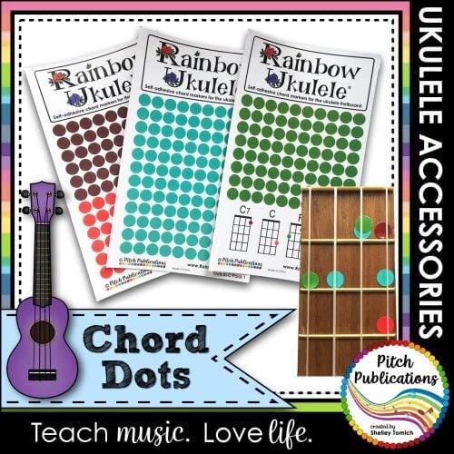 Rainbow Ukulele Colored Chord Dot Stickers