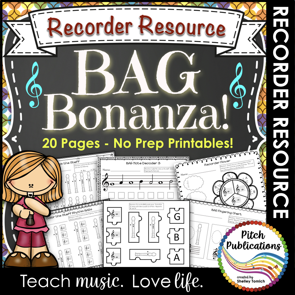 Recorder Bonanza: Worksheets to Practice BAG